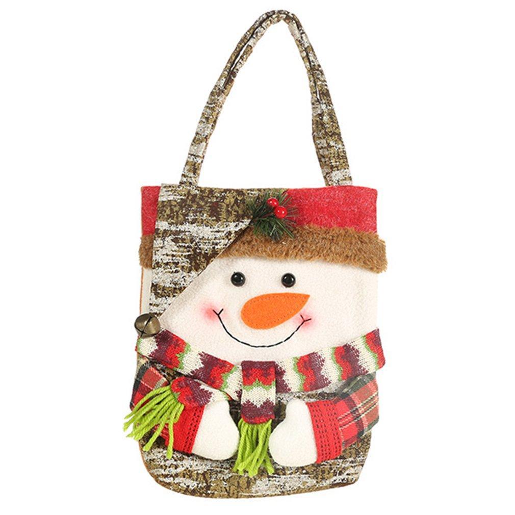 Navidad Faux corteza creativo dibujos animados patrón de la bolsa de asas del niño bolsa de regalo de Santa de Apple Bolsa muñeco de nieve Elk portátil