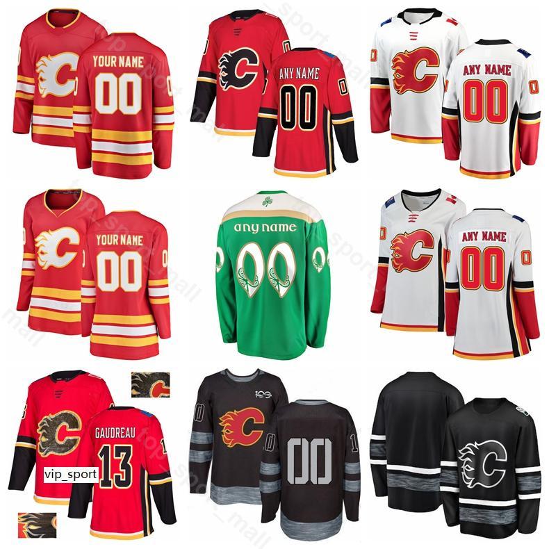 Calgary llamas hielo hockey sobre hielo johnny gaudreau jersey sean munahan 68 jaromir jagr mark giordano 100 aniversario negro rojo verde blanco