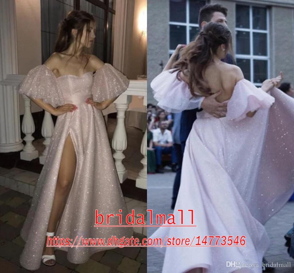 Vestes de mariée 2020 Vestidos De Noiva Cor-De-Rosa Com Lantejoulas uma linha sem costas Vestidos De Noiva boémios de praia com cortes laterais vestidos De novia