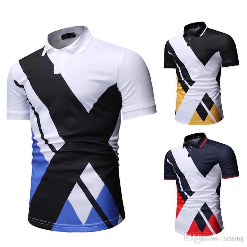 Contraste géométrique Couleur Polo Shirt Hommes D'été Slim Fit Polo À Manches Courtes Pour Hommes Casual Camiseta Polo Masculina 1801-T530