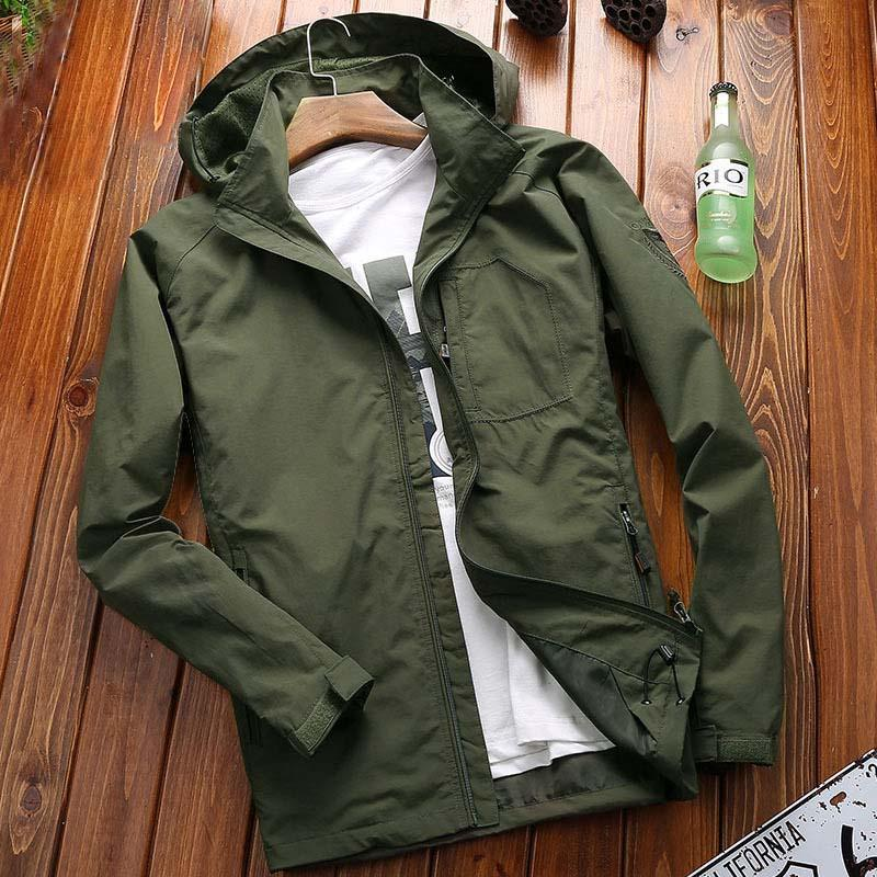 High Fashion Brand Spring Autumn Hooded Casual Jacket Men Style Windproof Coat Big Size M-7XL