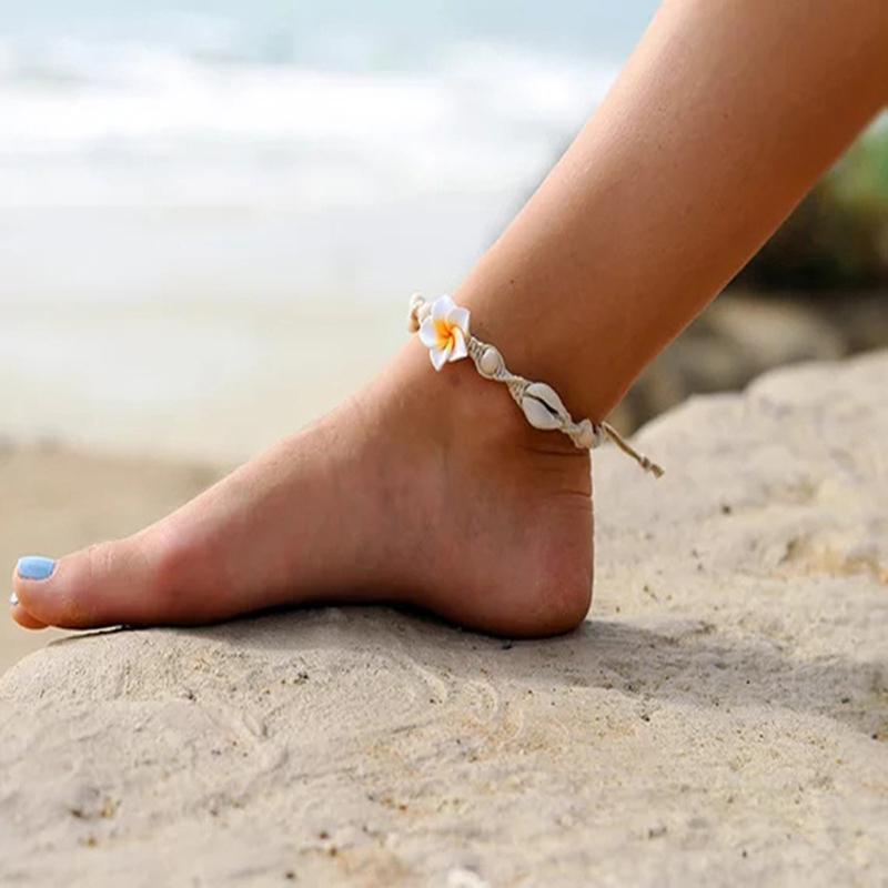 Bohemian Sea Shell ножной Бич ножной ручной работы сплетенный Мягкие керамические цветы Ножки Женский Личность ювелирные изделия