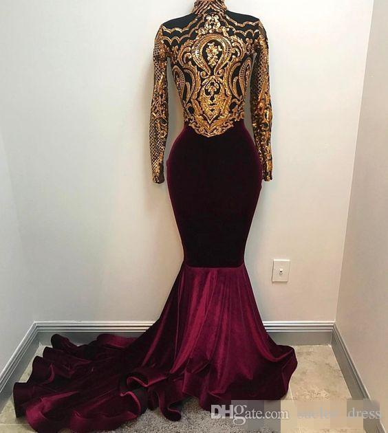 2019 Borgogna Abiti da ballo in velluto Abiti a maniche lunghe in velluto Oro Mermaid Mermaid su misura Plus Size Sweep Sweep Arabo Arabo Arabo Abiti da festa