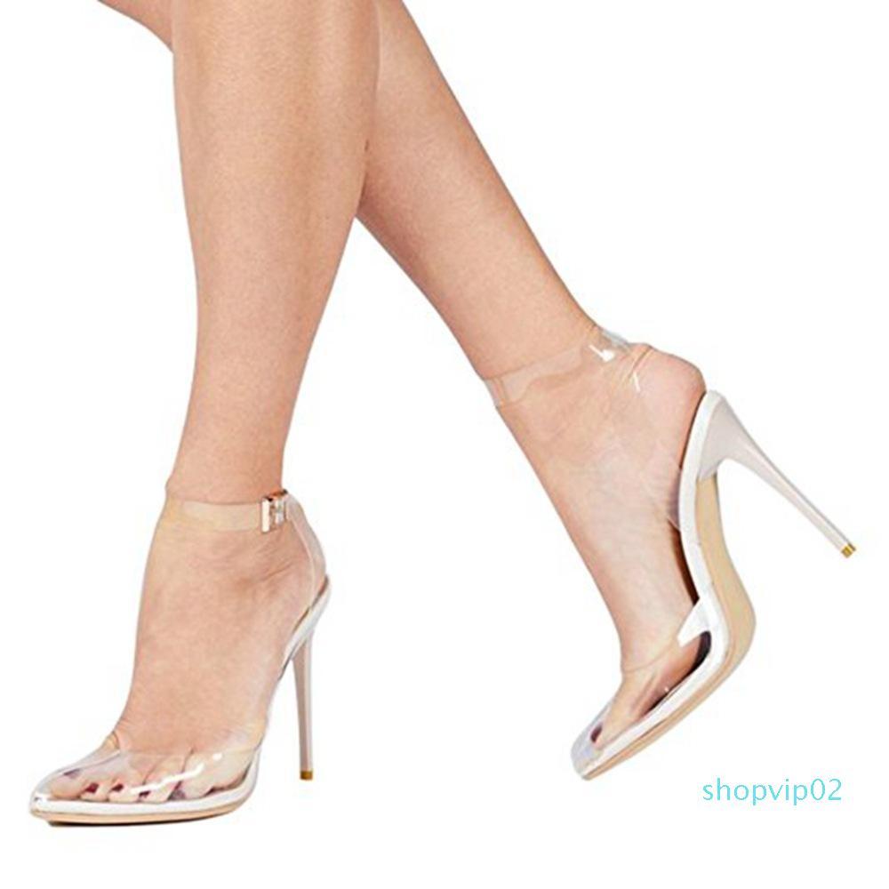 Hot2019 الجميلة باوتو مع ارتفاع الكعب العالي بولي كلوريد الفينيل مثير أحدث الأزياء والأحذية الصنادل ويل كود المرأة الشفافة