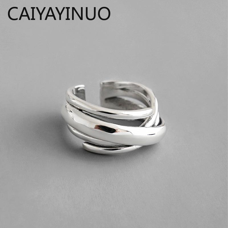 CAIYAYINUO 2018 ювелирных изделий способа серебра 925 ювелирных изделий Многослойная Намотка обручальное кольцо 925 серебряные кольца BAGUE роковую