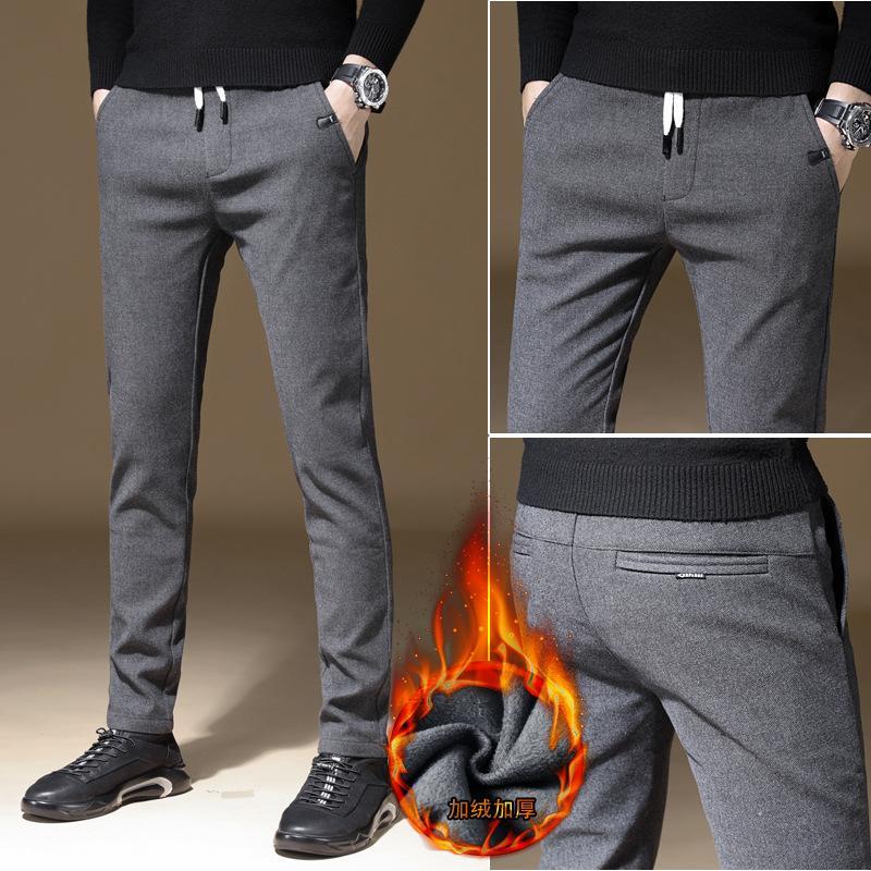 2020 nuovi Mens di inverno spesso pile Soffici Pantaloni Uomo coreano casuali Pantaloni sottili pantaloni caldi per gli uomini neri GreyTrousers maschio