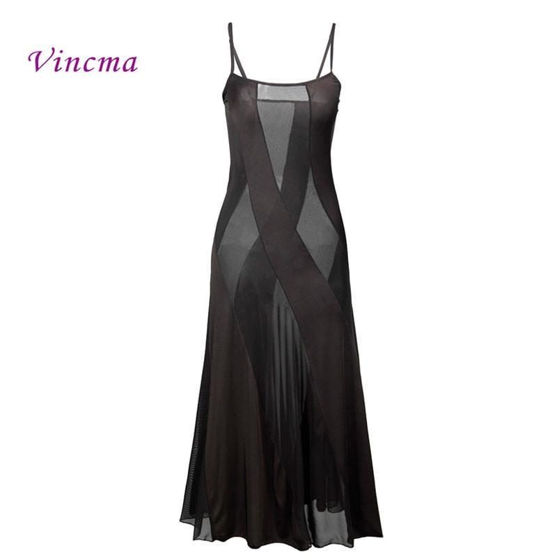 زائد حجم 6xl الساخن نمط المرأة الصلبة فستان طويل مثير ملابس الصيف شفافة ثوب النوم للنساء داخلية Y19070202