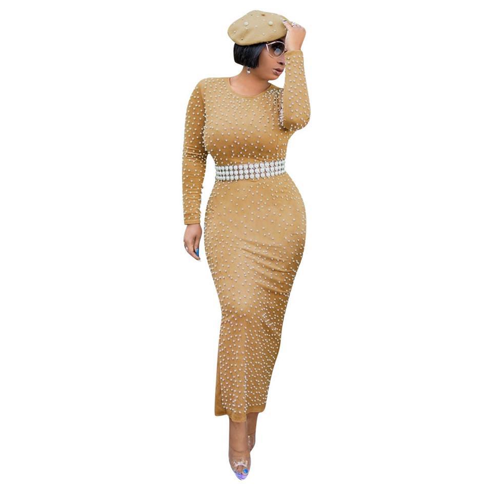 Fajas Perlas rebordear Vestido ajustado de cintura alta vestido de las mujeres del partido elegante lápiz señoras vestidos de túnica larga Femme dressYZ20.1-919