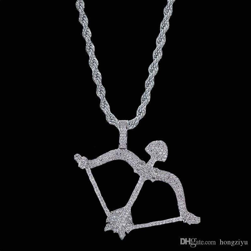 Nuovi Collana da uomo Collana con fiocco e freccia Oro Argento Colore Hip Hop Gioielli Materiale rame CZ Bling