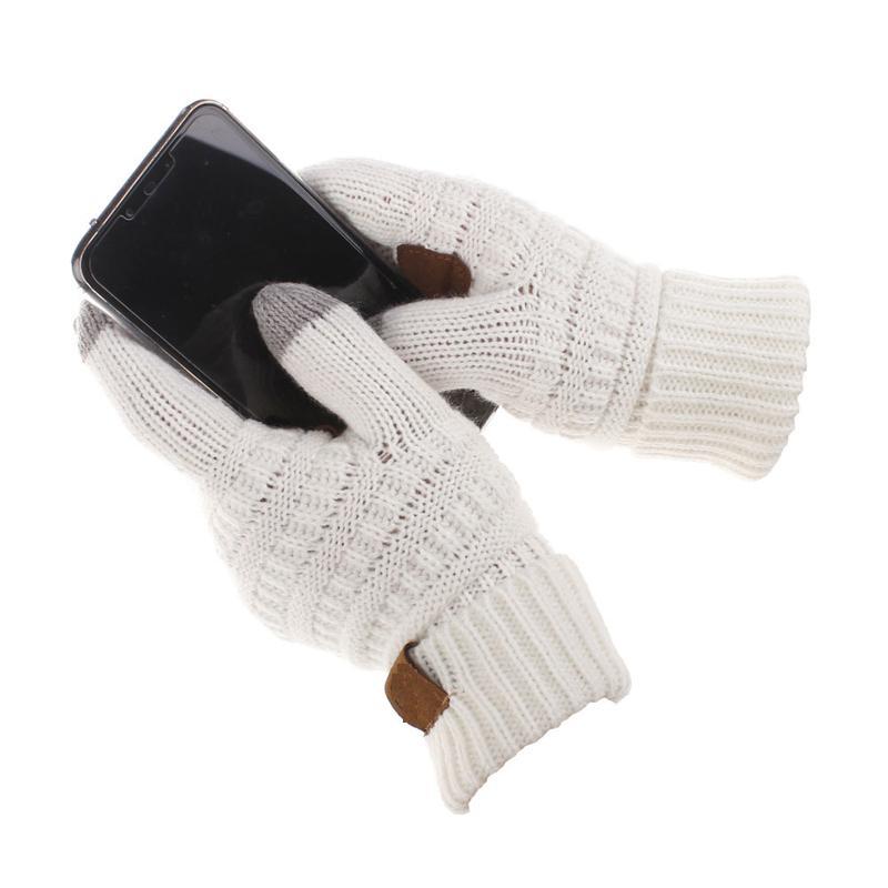 Moda- Tela de toque de tricô Luvas capacitivas Mulheres Inverno Luvas de lã quente Luvas antiderrapantes de malha Telefingers Presentes de Natal
