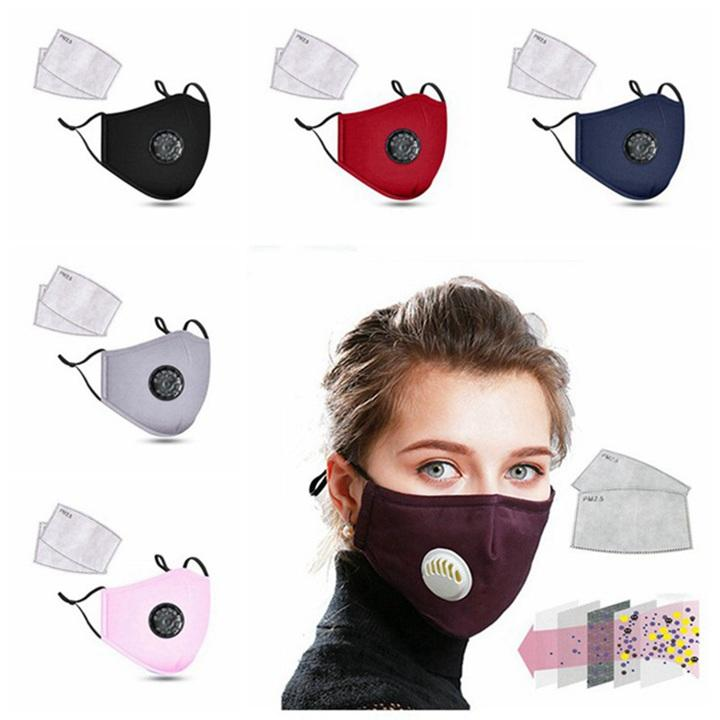 Fashion Unisex Cotton Breath Valve PM2.5 Mouth Mask Anti-Dust Anti Pollution Mask Cloth Activated carbon filter respirator 500pcs