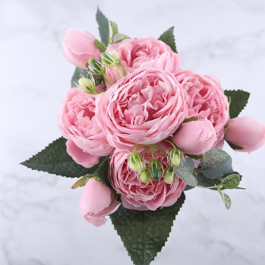 Ramo de flores artificiales de peonía de seda rosa rosa de 30 cm 5 cabeza grande y 4 brotes flores falsas baratas para la decoración de la boda en el hogar interior 8 colores