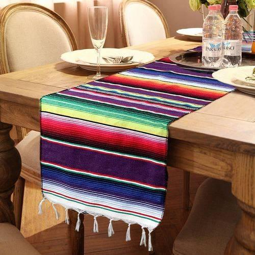 2019 Woven Mexican Serape Table Runner Fiesta Themed Party Decoration Mexican Cotton Tablecloth Blue Blanket Table Runner Table Cover Fashion From