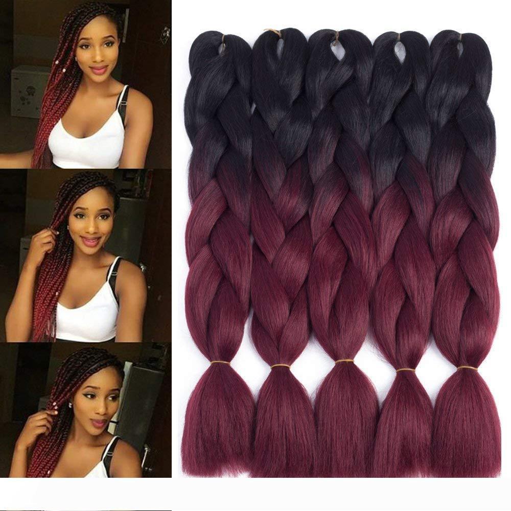 Two Tone Jumbo кос Ombre плетение волос X-Pression Наращивание волос Afro Box косами крючком Hair 100г пакет
