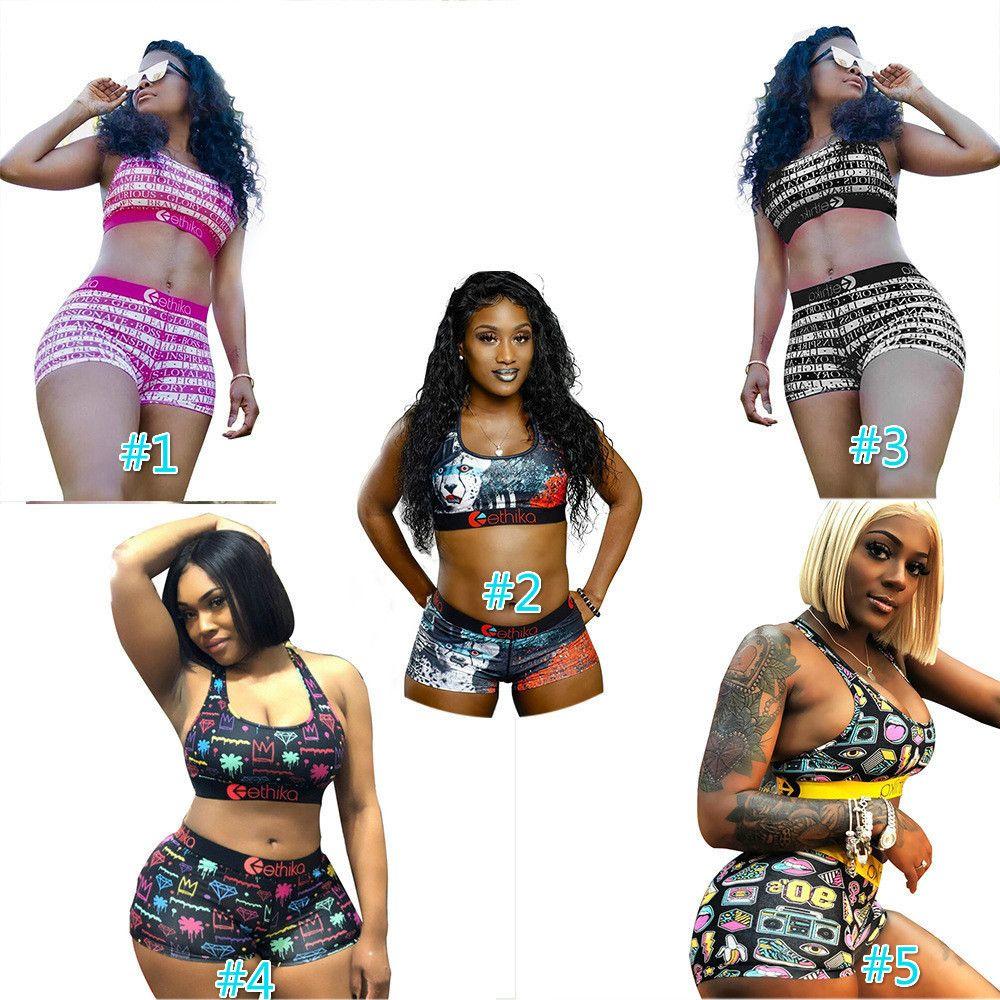 Diseñador de las mujeres del traje de baño Ethiko sujetador de los deportes + cortocircuitos los troncos de dos piezas de la marca del chándal de secado rápido ropa de playa Bikini de ropa C369