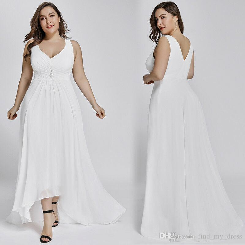 Simple Hi Lo Short Front Long Back Plus Size White Bohemian Summer Beach  Wedding Dresses 2019 Boho Sheath Chiffon Strap Bridal Gown Pleats Sheath ...