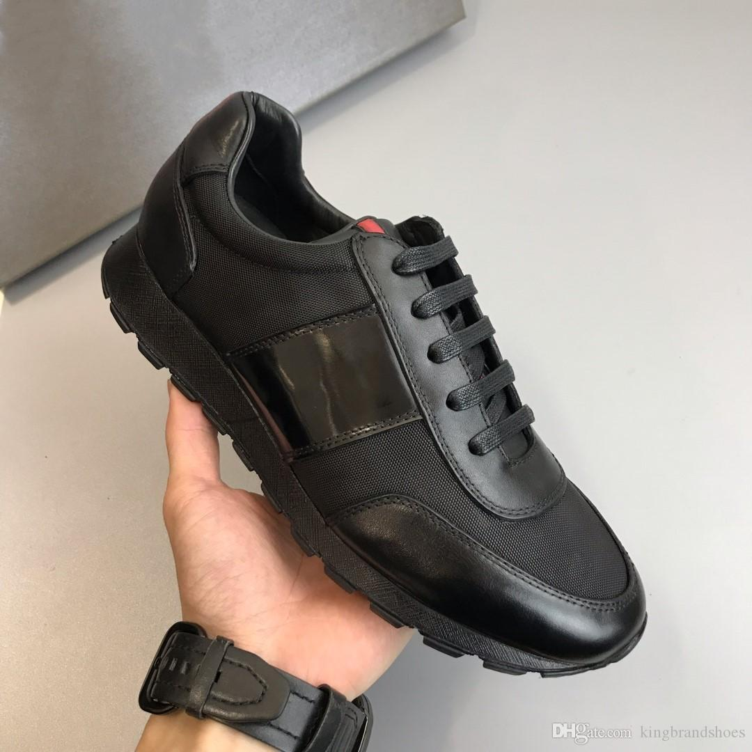 de haute qualité les plus récents hommes chaussures de sport classique respirant hommes en cuir véritable chaussures de sport en plein air décontracté chaussures noir