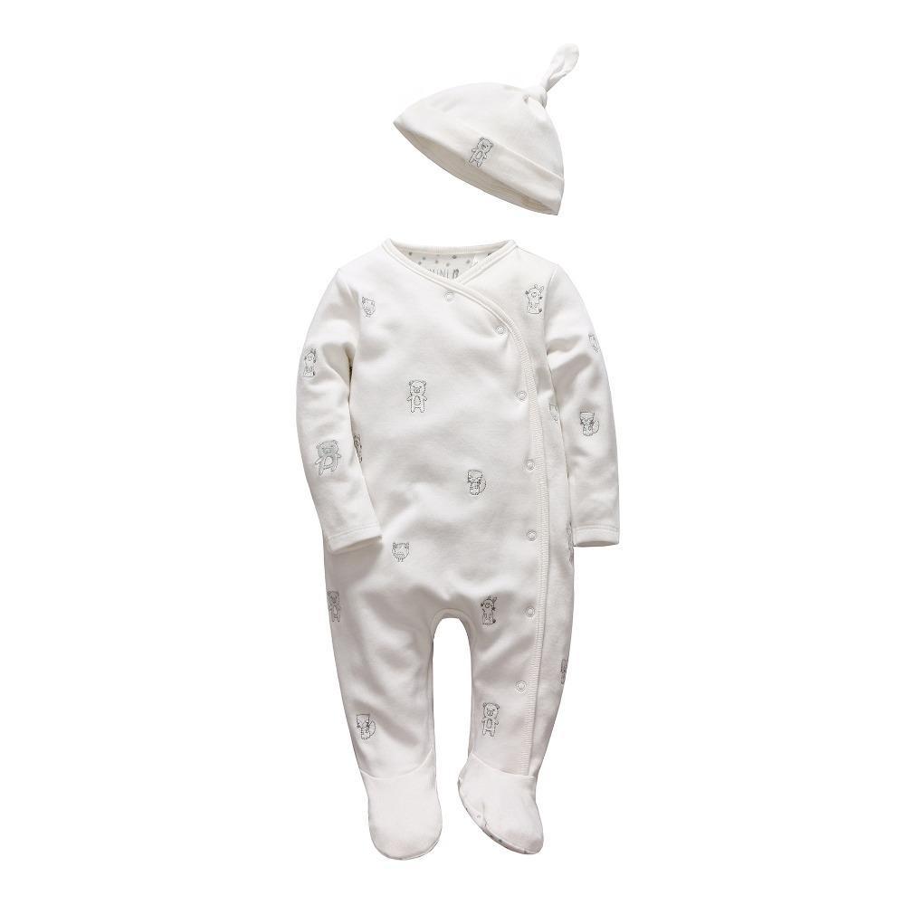 العطاء الرضع فتاة الأولاد السروال القصير لينة طويلة الأكمام الكرتون الحيوان infantil الوليد ملابس الطفل الأبيض القطن الرضع بذلة + قبعة Y19061201