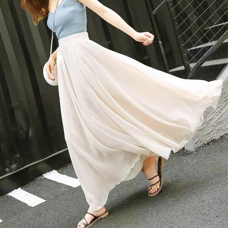 Mousseline de soie oversize sur la taille courte mini-jupe mince été jupe milieu danse carrée tournée 4 mètres