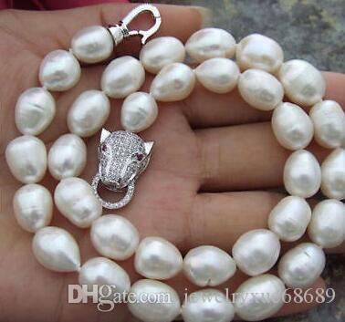 """HUGE 18/"""" 9-10MM WHITE BAROQUE FRESHWATER PEARL NECKLACE SILVER"""