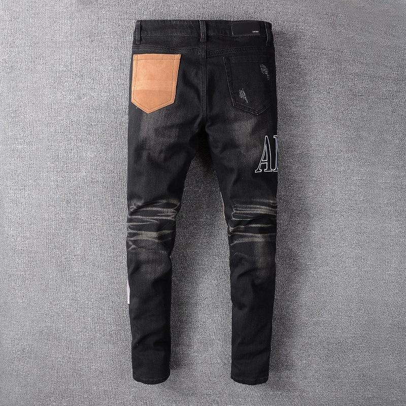 Designer Brand moda jeans di modo di marea indumento maschile commercio estero AMIRI buco nero in poco vento punk coltiva i suoi pantaloni di moralità