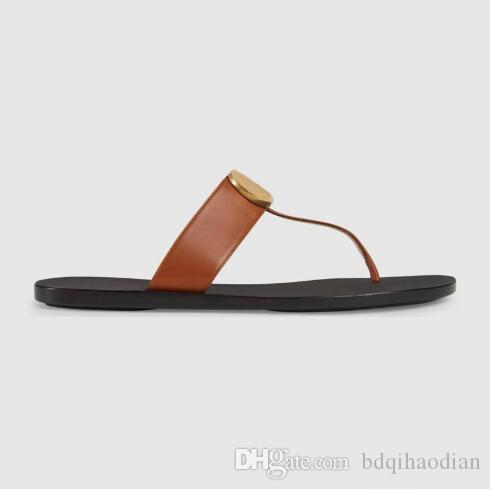 333Genuine кожи женщины мужчина дизайнер сандалии роскошь вьетнамка Metal Summer тапочка Большого размера 35-45 с коробкой