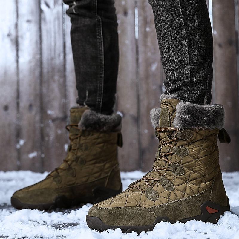 Mann-Winter-Warm-Pelz-Plüsch-Veloursleder wasserdichtes Gewebe Knöchel-Schnee-Aufladungen männlich High Top Anti Slip Rubber Arbeitssicherheitsschuhe