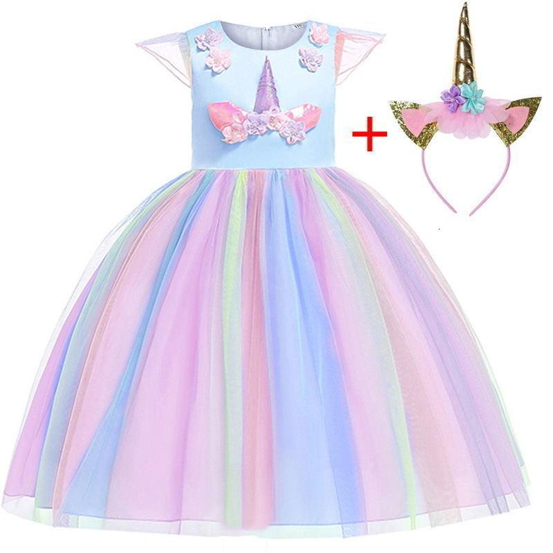 Vestido novo do Natal Lovly Unicorn Bordados Beading Gauze Princess Party Para Crianças Roupa 2-12 Years Free Tire Y19061501