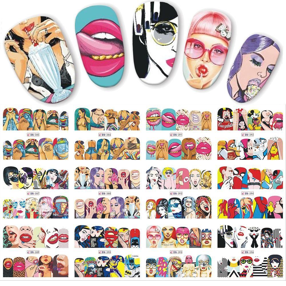 12pcs / set Pop Art Çıkartması DIY Su Transferi Nail Art Sticker Serin Kız Dudaklar süslemeler Tam sarar Çiviler JIBN385-396 Tasarımları