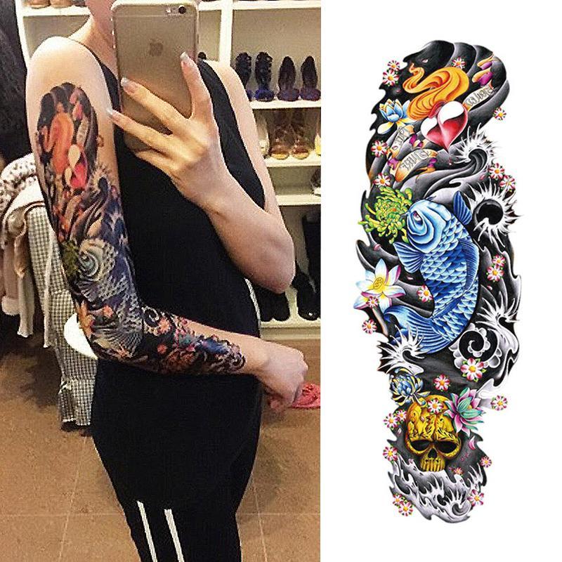 Nuevo 1 Unidades Etiqueta Engomada Del Tatuaje Temporal Old School Full Flower Tattoo Con Brazo Arte Corporal Etiqueta Engomada Del Tatuaje Grande Grande