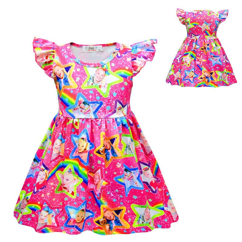 Cute Girls Long Sleeve Round Neck Rainbow Princess Dresses Printed Birthday Party Dress Up Show Costumes