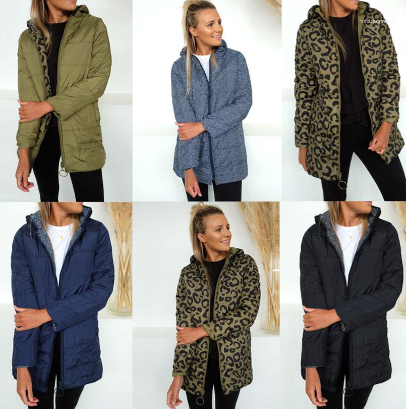 Женщины Вниз Parkas Зима Дизайнер Леопарда Толстые Теплые Пальто Ветровка Реверсный
