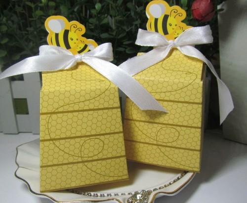 "Newest Cake box of ""Sweet as Can Bee"" Bee Favor Box for baby birthday and baby shower candy bags and baby souvenirs 50Pcs/lot Free Shipping"