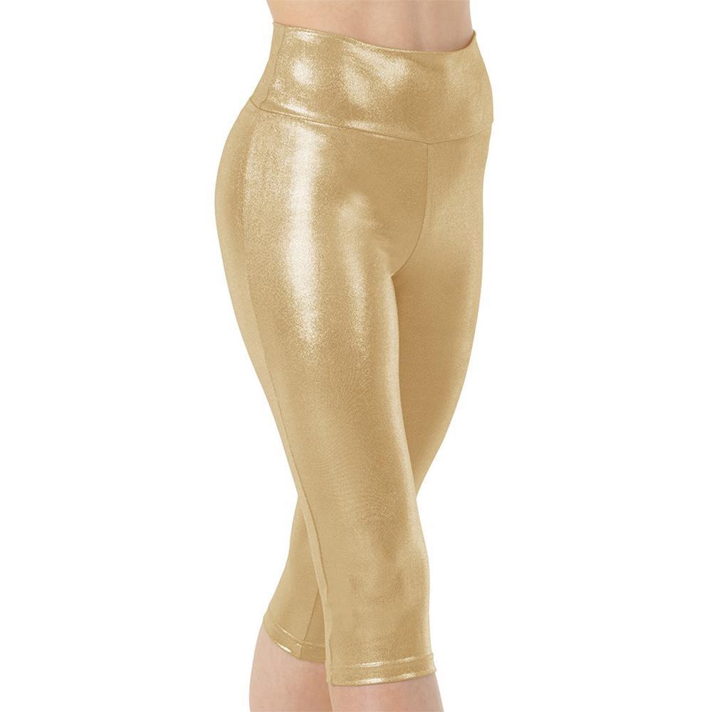 Speerise para mujer Spandex metálico brillante de oro de la danza Capris altura de la cintura del tamaño extra grande de las polainas del estiramiento flacos de los trajes de Dancewear