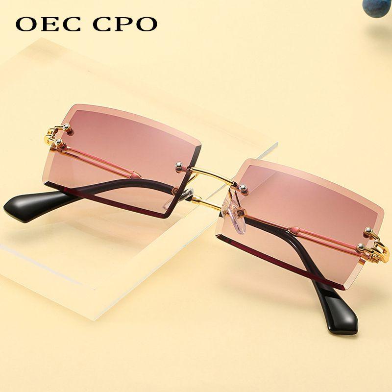OEC CPO popular de la manera sin rebordes del rectángulo gafas de sol de las mujeres de los hombres Sombras aleación de los vidrios UV400 L44