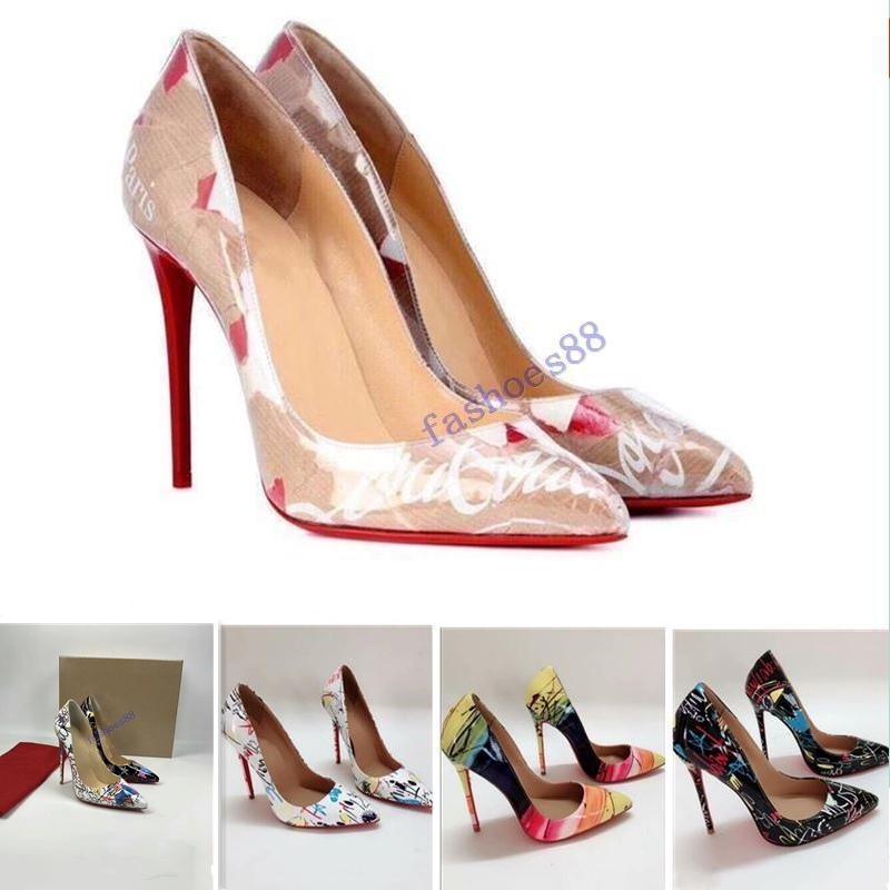 a + 2020 di moda Tacchi Rivetti di lusso della parte inferiore rossa inferiori alto tallone talloni Black Silver Wedding Pumps Scarpe Donna Womens Dress con box