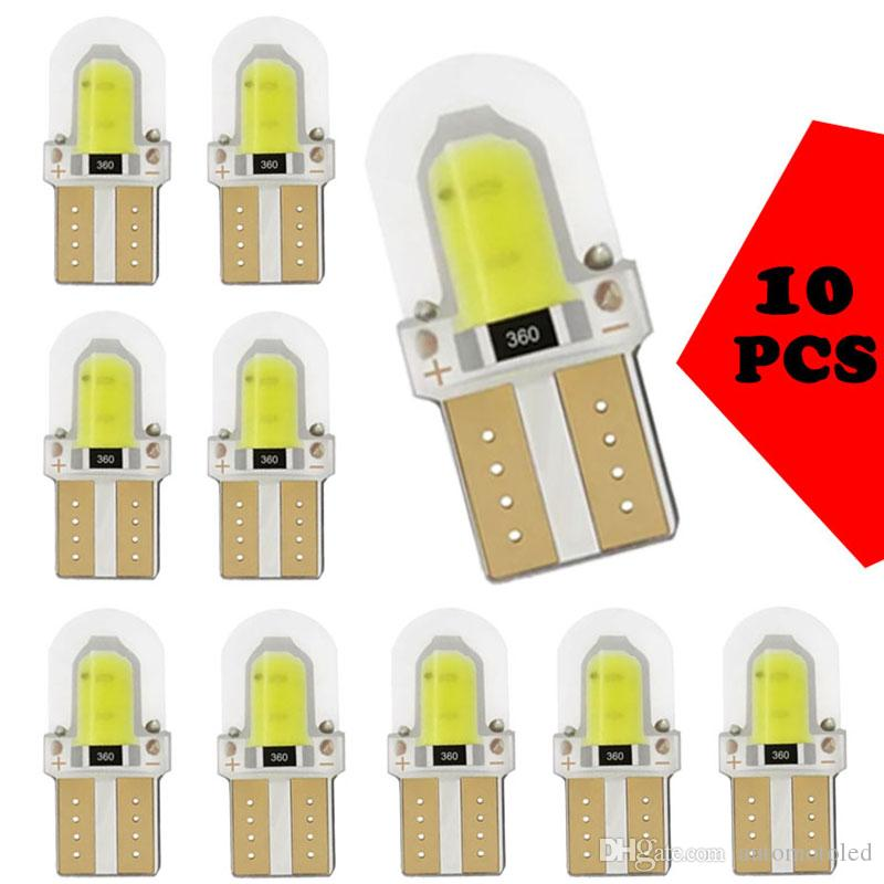 10pcs T10 W5W Silika COB 8SMD LED Araç Park Işık Lisans Işık Ampüller 194 168 Kama İç Kubbe Lambası Yan Ampul çevirin