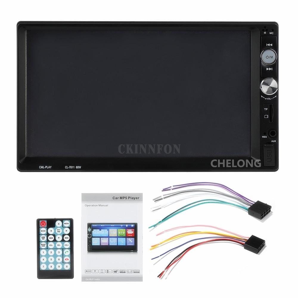 5pcs / Lot 7011B 7 '' HD 1064 * 600 2 Radio Din Car Jogador MP5 telefone Bluetooth Toque Stereo Tela Player / Áudio / Vídeo / USB