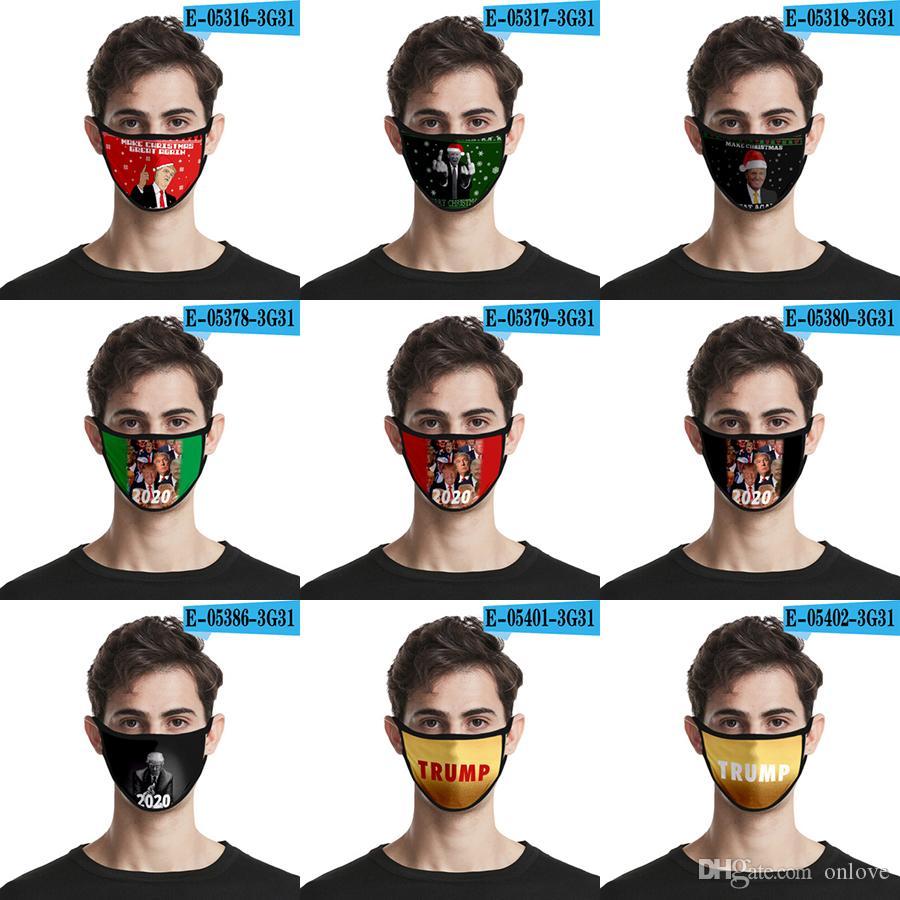 3d Máscara 2020 Trump Padrão Verão respirável Máscara Dustproof Impressão Moda Ice Silk tecido lavável XD23427