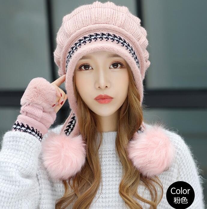 femmes chapeau gants de laine tricotés chapeau gants d'hiver féminins hiver version féminine coréenne étudiants Joba coiffent