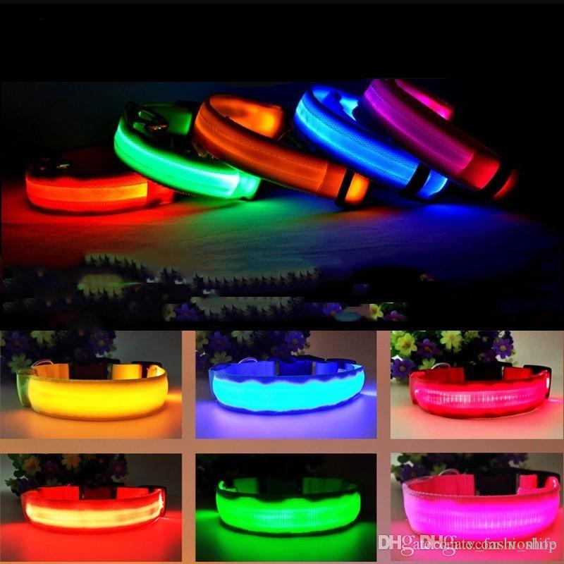2020 Nylon LED Pet Dog Collar Night Safety Flashing Glow In The Dark Dog Leash Dogs Luminous Fluorescent Collars Pet Supplies