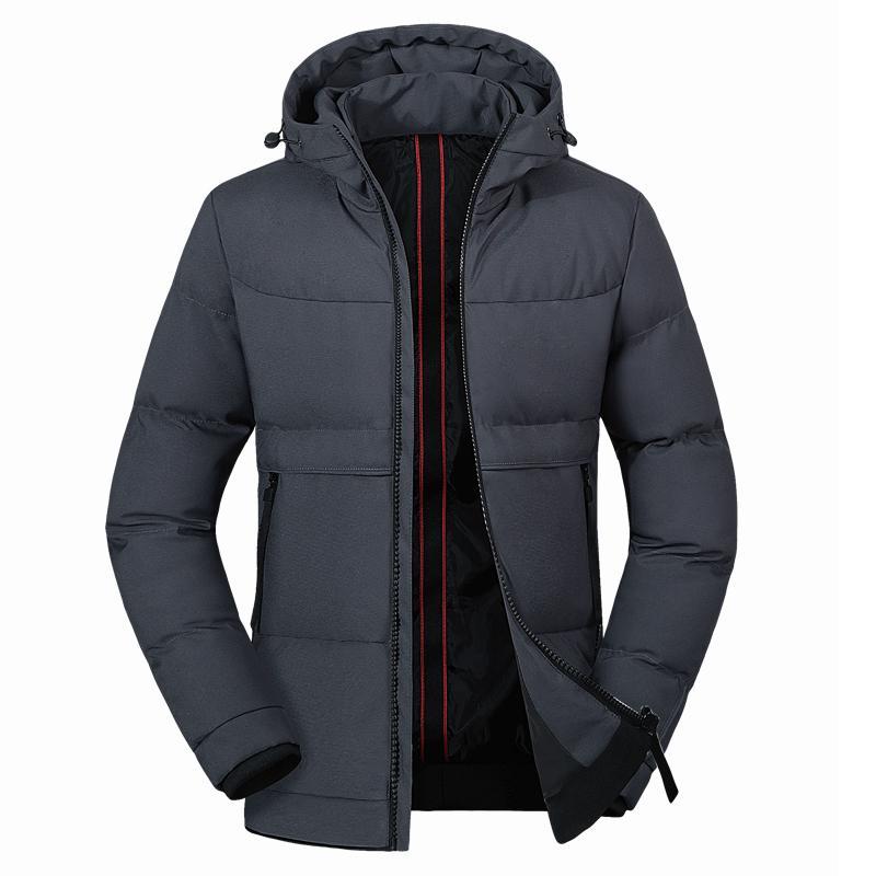 Winterjacke mit Kapuze Männer starke warme Jacken der Männer lässige Parkas Männer Kleidung 2019 Schwarz Grau Herren Winterjacken und Mäntel
