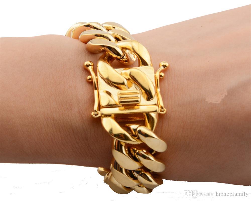 8mm/10mm/12mm/14mm/16mm/18mm Mens 18K Gold Plated Stainless Steel Bracelets High Polished Miami Cuban Link Punk Curb Gold Bracelets