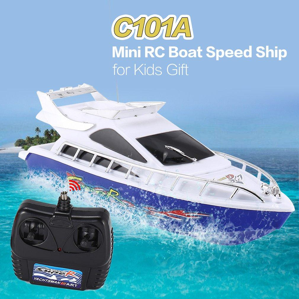 C101A Mini Radio Remote Control RC High Speed Racing Boat Speed Ship for Kids Children Gift Present Toy Simulation Model