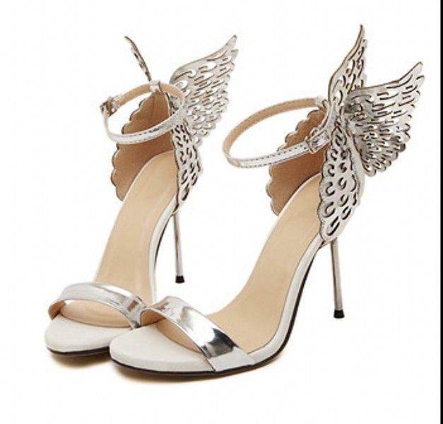 Sandálias de grife Sexy com asas de borboleta Cut-Outs mulheres de prata de ouro de salto alto sapatos de casamento moda sapatos de noiva