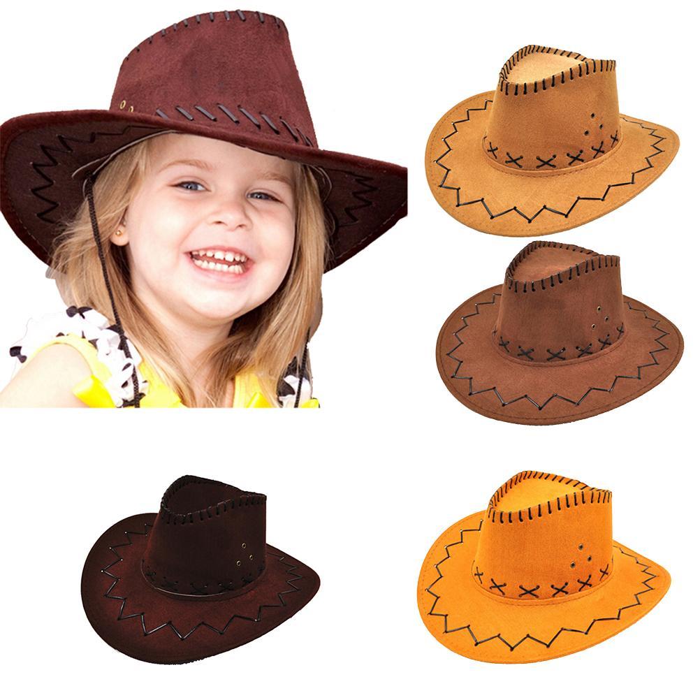 1pcs del cappello del cowboy dei bambini dei bambini di jazz Bull Rider Cowboy Cowgirl Western Travel Estate cappello Sunhat dei ragazzi delle neonate Caps