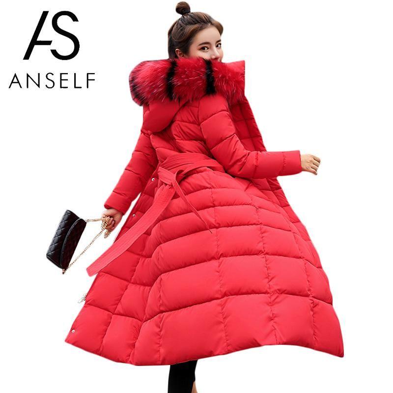 Mode Femmes D'hiver Longline Veste Col De Fourrure À Capuche À Manches Longues En Coton Manteau Parka Épaississement Chaud Survêtement