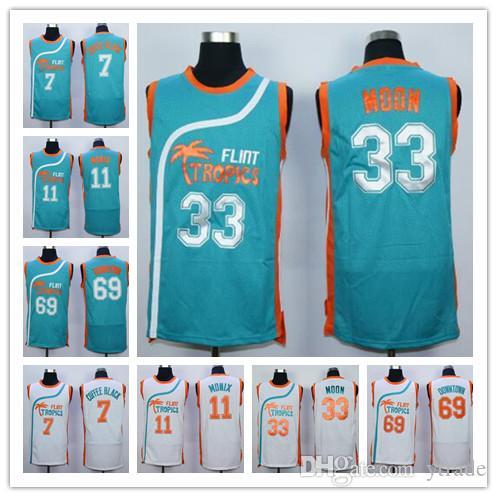 Дешевые мужские Semi Pro Movie Flint Tropics кофе черный Джерси #33 Джеки Мун #69 Downtown #11 ED Monix баскетбольные майки белый зеленый