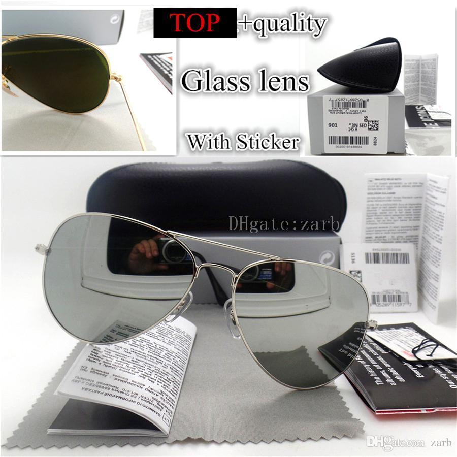 Unisex 58/62MM Men Women Sunglasses Metal Plank Classic Beach Luxury Pilot Vintage G15 Glass Lens Eyeglass Sport UV400 Mirror With Box Case