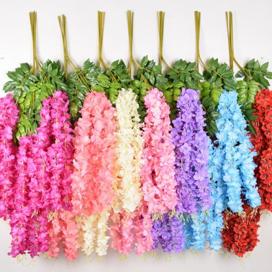 110CM Dense Wisteria fiore di seta fiore artificiale vite elegante Glicine Rattan Wedding Garden Home decorazione della festa TTA1988-1